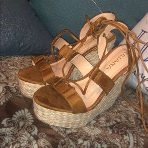 Liliana lace up wedges new